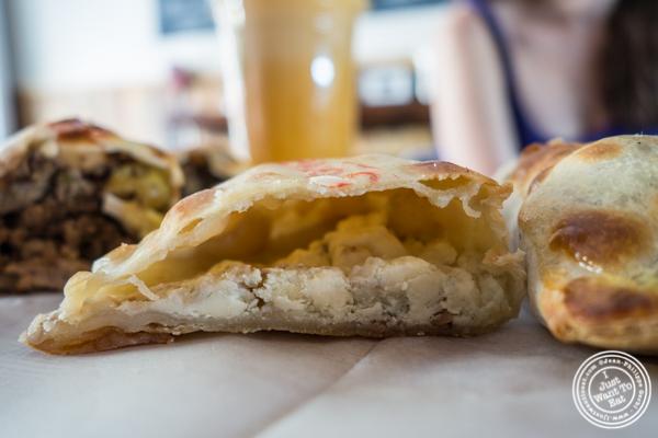 Blue cheese, mozzarella and walnuts empanada at Empanadas Café in Hoboken, NJ