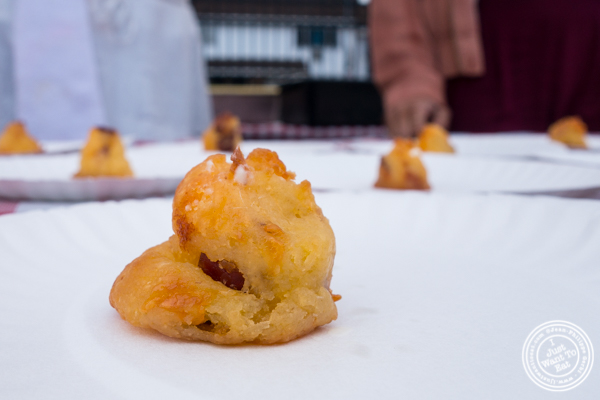 Midnights' cheddar bacon gougere at The Great Big Bacon Picnic in Williamsburg, Brooklyn
