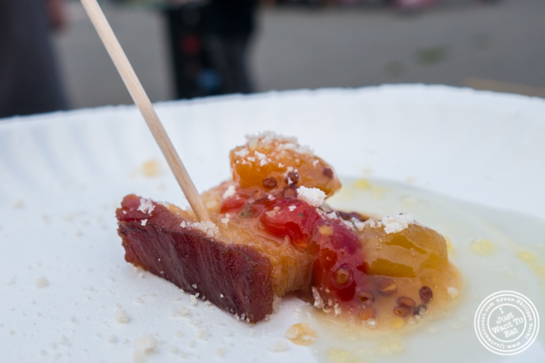 Smoked pork belly from Walker's Bar at The Great Big Bacon Picnic in Williamsburg, Brooklyn