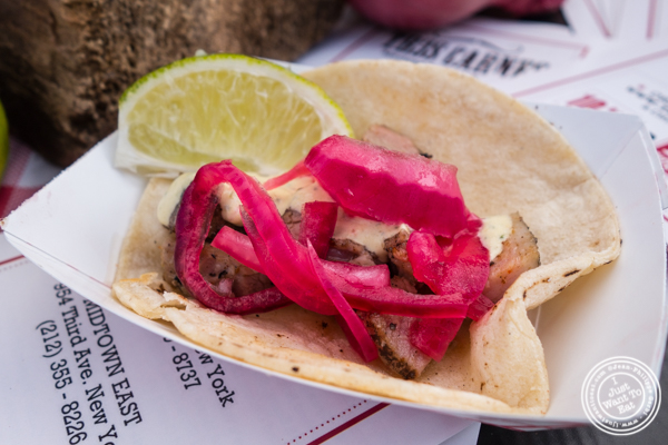 Pork belly taco from Tres Carnes at The Great Big Bacon Picnic in Williamsburg, Brooklyn