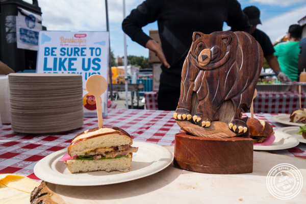 Bareburger's candied bacon slider at The Great Big Bacon Picnic in Williamsburg, Brooklyn