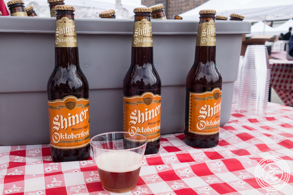 Shiner Oktoberfest beer at The Great Big Bacon Picnic in Williamsburg, Brooklyn