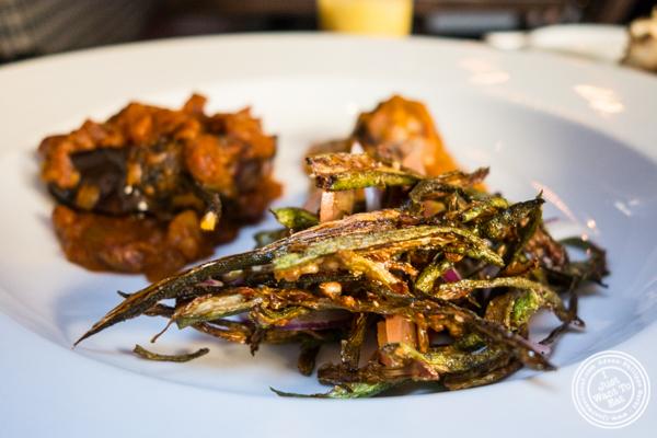 Fried okra at Kurry Qulture in Astoria, Queens