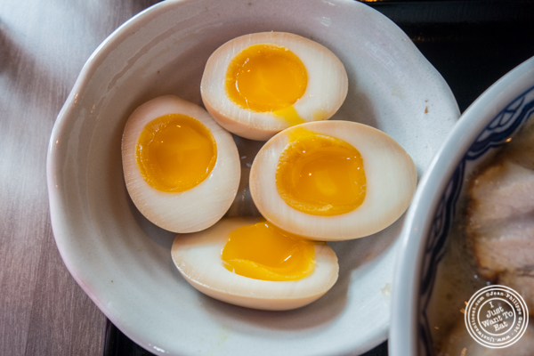 Soft boiled eggs at Mentoku Ramen in Hell's Kitchen