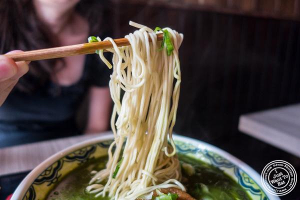 Matcha ramen noodles at Mentoku Ramen in Hell's Kitchen