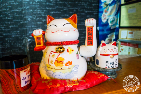 Lucky cat at Cho-Ko Ramen in the Lower East Side, NYC