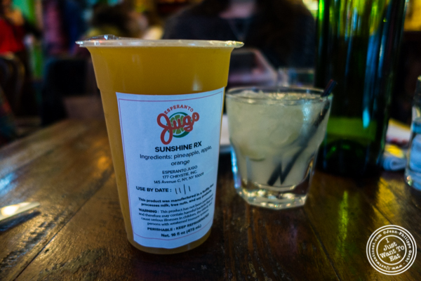 Sunshine RX cold-pressed juice at Esperanto in Alphabet City, NYC