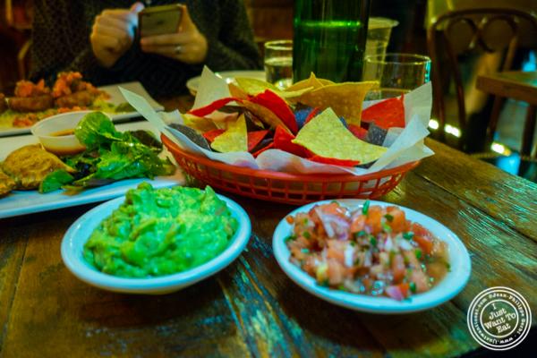 Guacamole, pico de gallo and chips at Esperanto in Alphabet City, NYC