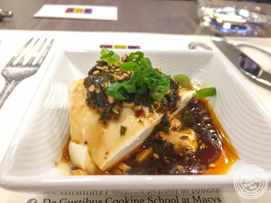 Homemade tofu with soy perilla vinaigrette at De Gustibus Cooking School at Macy's, NYC, NY