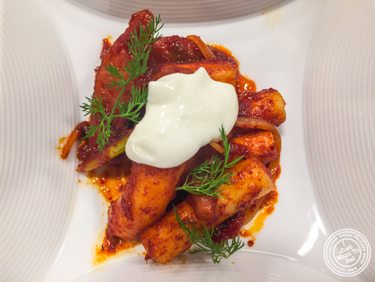 Spicy rice cakes with sausage ddukbokki at De Gustibus Cooking School at Macy's, NYC, NY