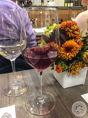 Glass of St Aubin 1er Cru Rouge 2013, Domaine Marc Colin at De Gustibus Cooking School at Macy's, NYC, NY