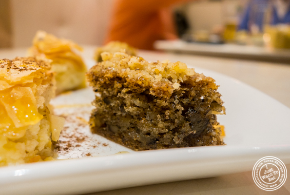 Walnut cake at Korali Estiatorio on the Upper East Side, NYC, NY