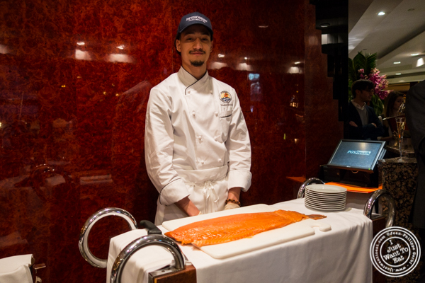 Smoked salmon station at Petrossian in NYC, New York