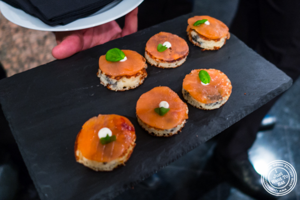 Smoked salmon on blini at Petrossian in NYC, New York