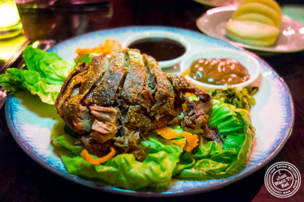 Confirm duck leg bao platter at Chaan Teng in Hell's Kitchen, NY