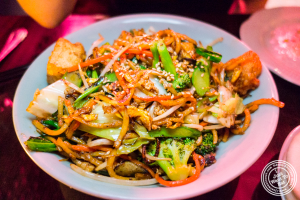 Charred Lo Mein with egg and tofu at Chaan Teng in Hell's Kitchen, NY