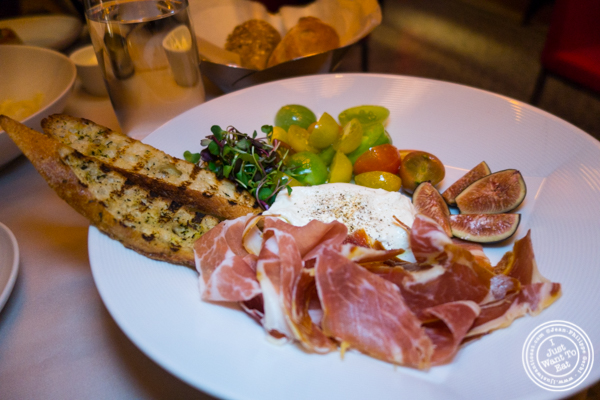 Burrata and Serrano ham at Robert in The Museum of Art and Design, NYC, NY