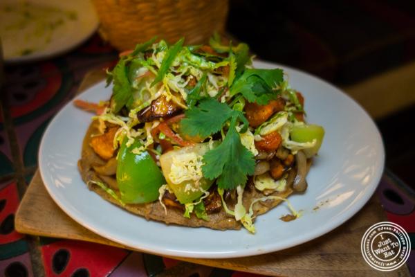 Mushroom tostada at Salvation Taco in NYC, NY