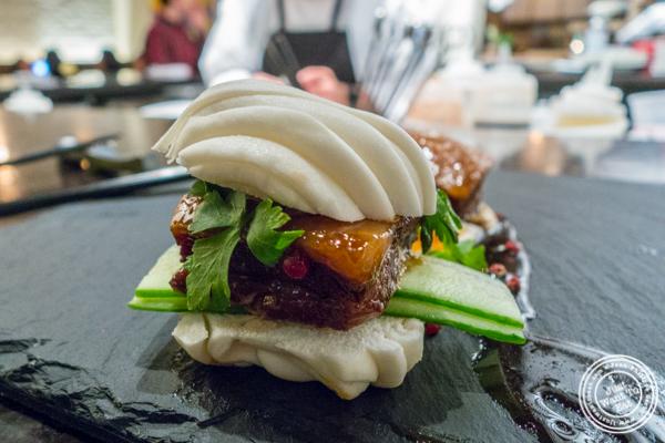 Pork belly buns at ROKI Le Izakaya in NYC, NY