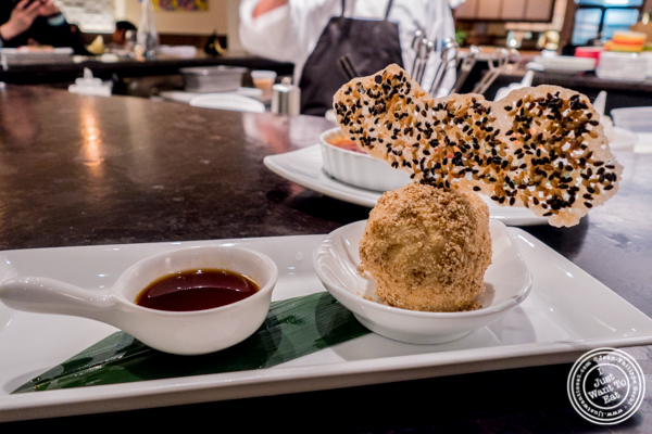 Roasted white sesame ice cream with a sugar syrup at ROKI Le Izakaya in NYC, NY