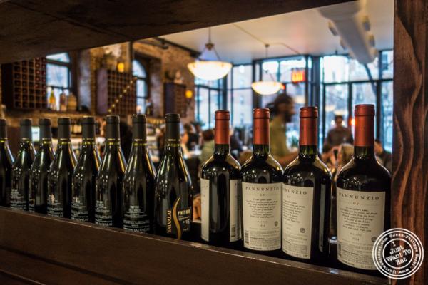 Wine bottles at Bella Luna on the Upper West Side, NYC, NY