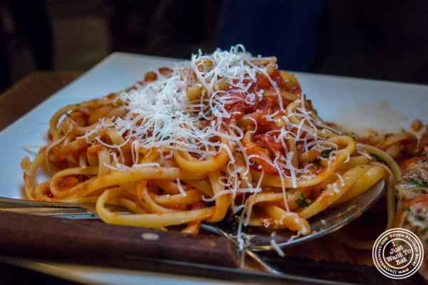 Linguine with tomato sauce at Bella Luna on the Upper West Side, NYC, NY