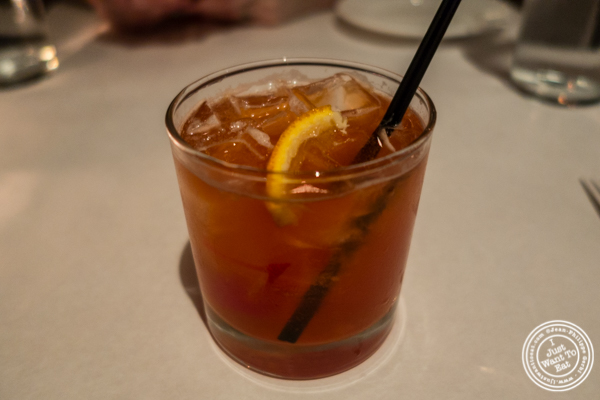 Old fashion cocktail at Westside Steakhouse in NYC, NY