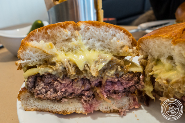 Signature burger at 5 Napkin Burger on the Upper East Side, NYC