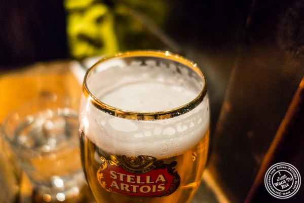Stella Artois beer at BXL Cafe in NYC, NY
