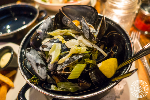 Moules vin blanc et creme at BXL Cafe in NYC, NY