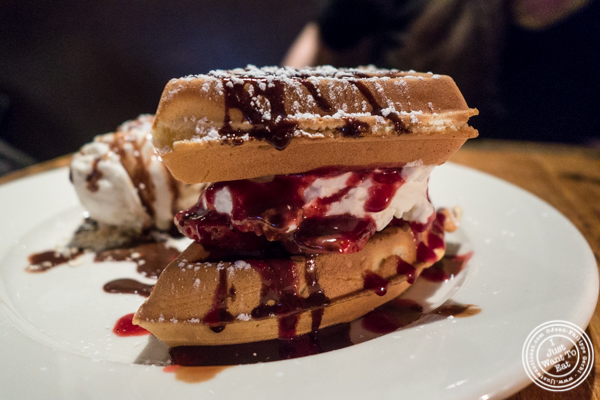 Belgian waffle at BXL Cafe in NYC, NY