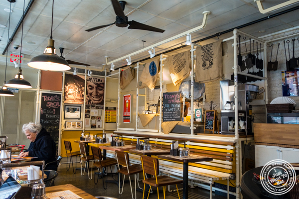Dining room at Wafels and Dinges in the East Village, NYC, NY
