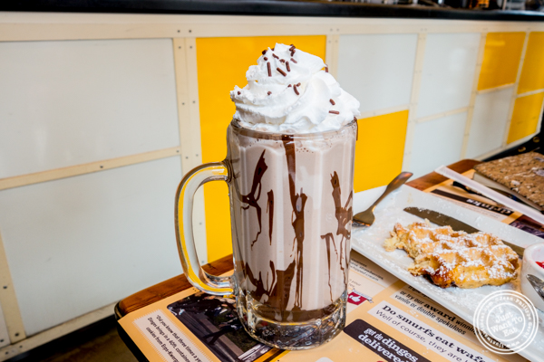 Banana and nutella milkshake at Wafels and Dinges in the East Village, NYC, NY