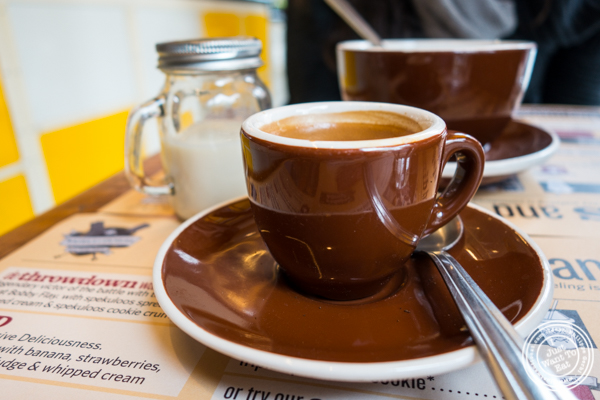 Espresso and tea at Wafels and Dinges in the East Village, NYC, NY