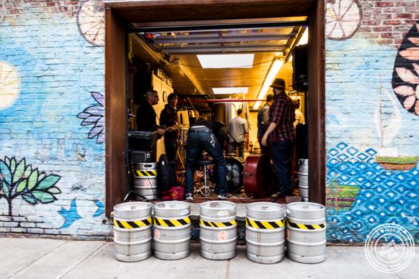 Band rehearsing at The Rockaway Brewing Company in Long Island City
