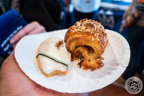 Mini-Everything ham and cheese croissant and surfboard shortbread from Rockaway Beach Bakery