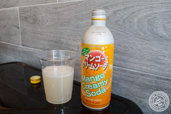 Mango creamy soda at Tofu bowl at Makai Poke Co in Hoboken, NJ