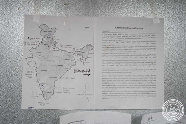 Map at Indian Accent in NYC, NY
