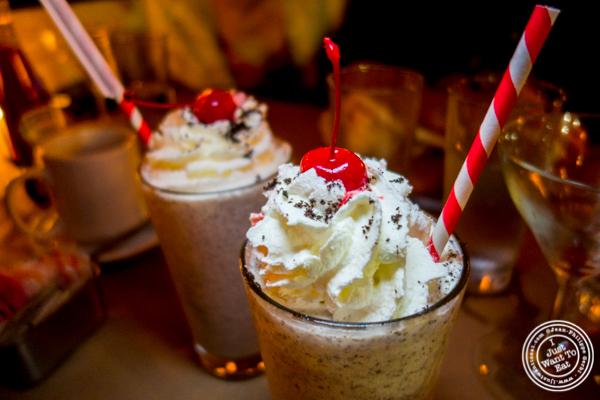 Cookies and cream milkshake at 5 Napkin Burger near Union Square, NYC, NY