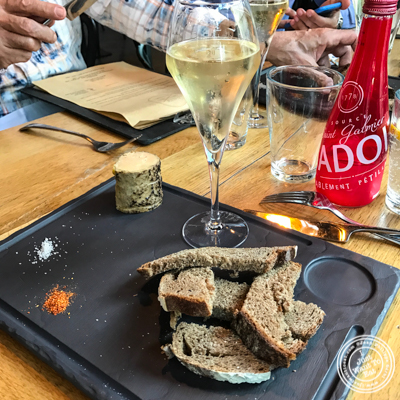 Foie gras and champagne at Gaudi Café in Grenoble, France