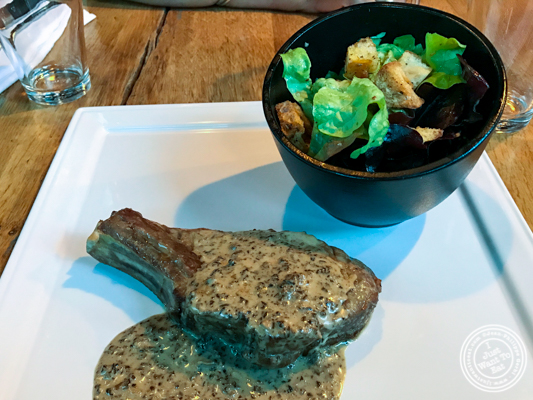 Veal chop with morel sauce at Gaudi Café in Grenoble, France