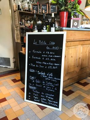 Menu of La Petite Idée,Grenoble, France