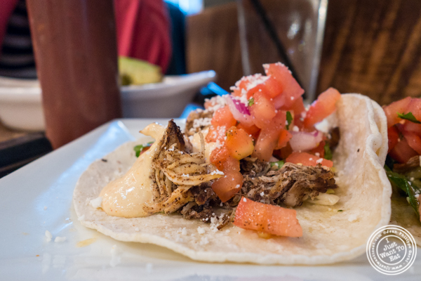 Smoked chicken taco at Mexicue in NYC, New York