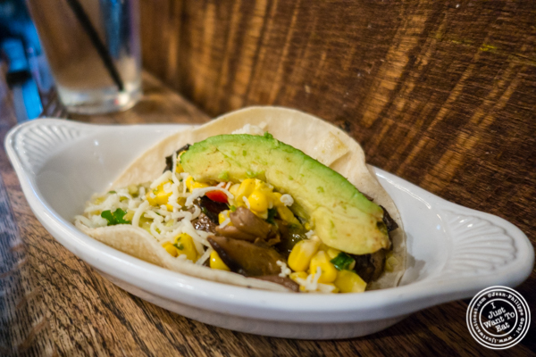 Avocado shroom taco at Mexicue in NYC, New York