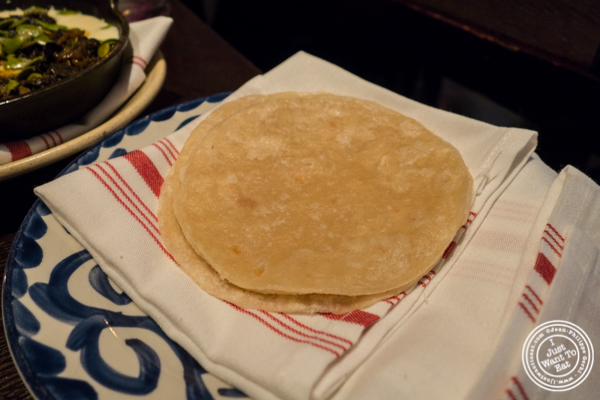 Tortilla for melted cheese at Empellon Taqueria in NYC, NY