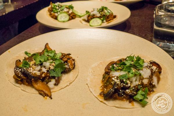 Mushroom tacos at Mixed Mushrooms with Pasilla Chile