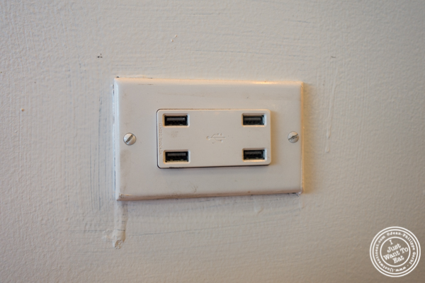 USB ports at Badshah Modern Indian in Hell's Kitchen