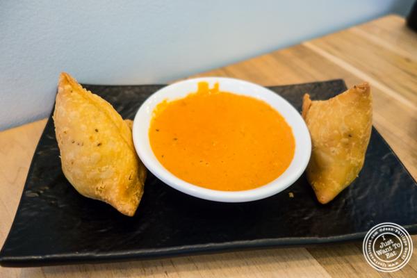 Vegetable samosas at Badshah Modern Indian in Hell's Kitchen