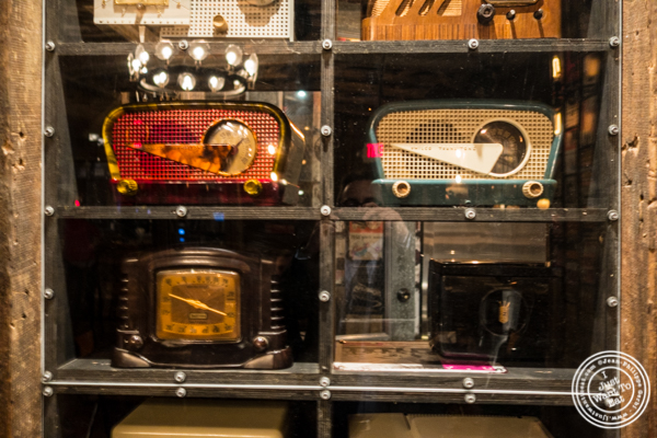 Old radios at Turntable LP Bar and Karaoke in K-Town, NYC