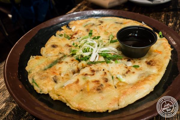 Korean seafood pancake at Turntable LP Bar and Karaoke in K-Town, NYC